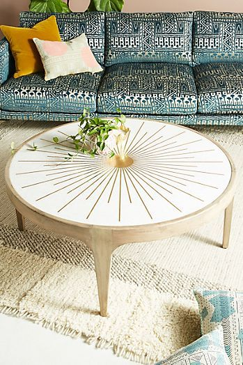 Brass Starburst Rectangular Coffee Table Painted Coffee Tables