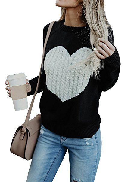 Damen Langarm Strickshirt Sweater Tops Strickpullover Freizeit Frauen Geschenk
