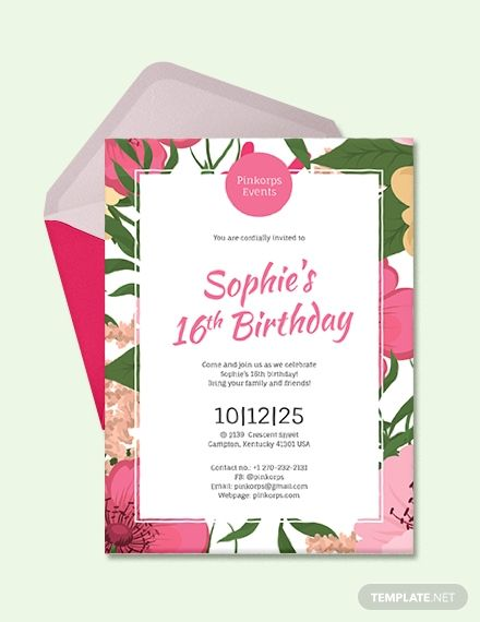 This Birthday Invitation Template Is Perfect For Any Girl S Birthday Party Wit Free Party Invitation Templates Party Invite Template 16th Birthday Invitations