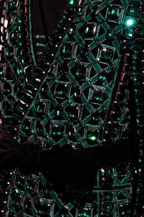 Black on green crystal details at Balmain Paris.
