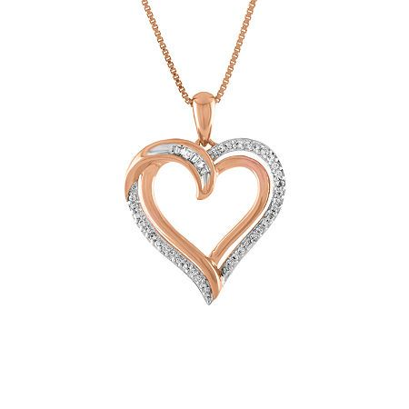 Diamond Clarity: I3Jewelry Closure: Spring Ring ClaspSetting: Multi-SettingShape: HeartStone: DiamondStone Cut: Multi-ShapeDiamond Color: I-JMetal Color: RoseChain Length: 18 InchChain Width: .85 MillimetersPendant Length: 23mmPendant Width: 19mmRounded Carat Weight: 1/10 Ct. T.w.Metal: 14k Rose Gold Over SilverChain Construction: BoxCare: Polishing ClothStone Type: 34 Genuine DiamondAuthenticity: Genuine StoneBirthstone: April BirthstoneCountry of Origin: Imported