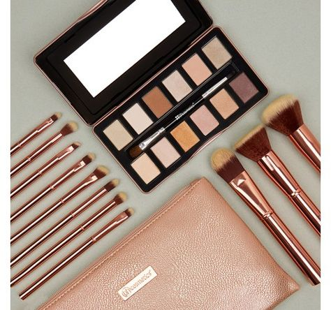 b689be3f17b6b Metal Rose – 11 Piece Brush Set With Cosmetic Bag