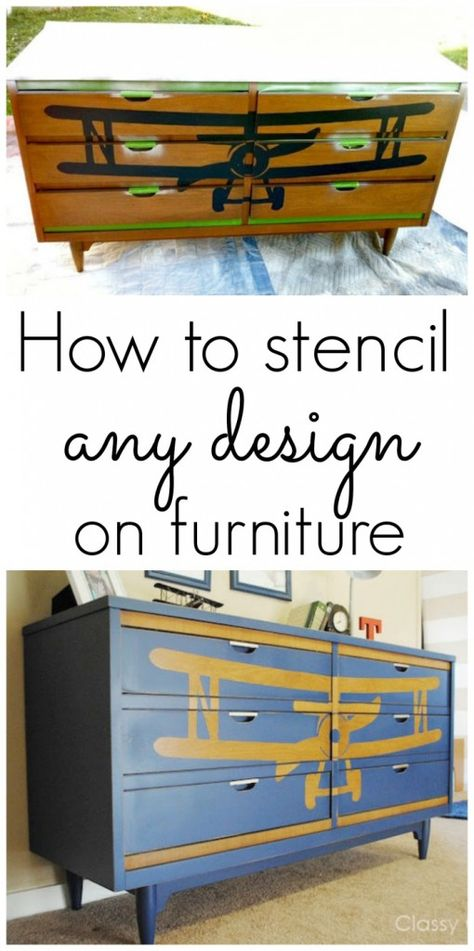 How to stencil a design on furniture {Biplane Dresser Makeover}
