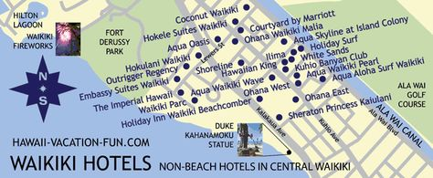 Map Of Non Beachfront Waikiki Hotels In The Central Portion With Nearby Landmarks Hawaii Vacation Fun Pinterest And