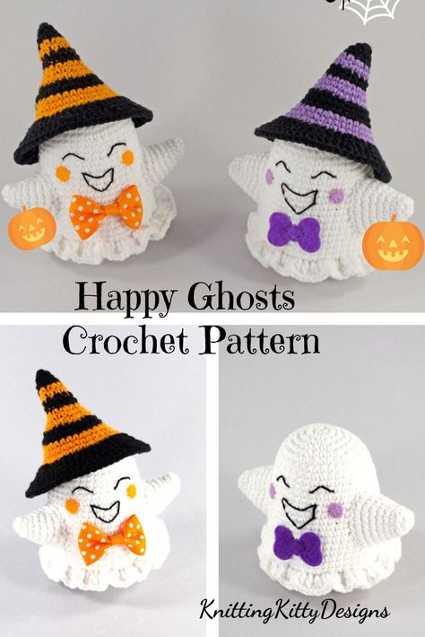 Feel the spirit of Halloween with these cute crochet ghost. There are perfect gift for your friends or beautiful and original home decor. Crochet Fall, Holiday Crochet, Crochet Gifts, Cute Crochet, Halloween Crochet Patterns, Crochet Toys Patterns, Amigurumi Patterns, Crochet Pumpkin Pattern, Doll Patterns Free