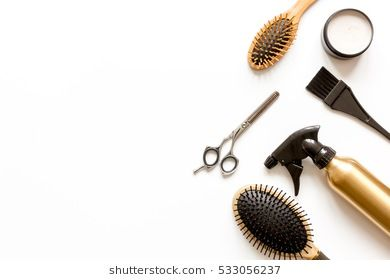 Combs And Hairdresser Tools On White Background Top View Hairstylist Branding Beauty Saloon Hair Salon