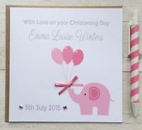 pink or blue Card Personalised Handmade Naming Day