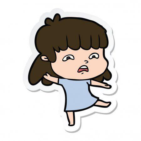 Sticker Of A Cartoon Worried Woman Stock Vector Ad Worried Cartoon Sticker Vector Ad A Cartoon Graphic Design Branding Cartoon
