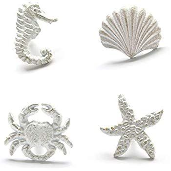 Zilucky Sea Horse Starfish Seashell And Crab Drawer Pulls Handles