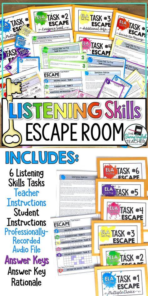 ELA Test Prep Listening Skills and Nonfiction Text Escape Room Activity
