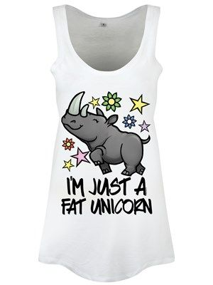 Celebrating it's inner beauty, this rhinoceros couldn't look any happier if it tried. Surrounded by cute stars and flowers, the horned animal announces smugly 'I'm just a fat unicorn' and will make a super cute addition to your wardrobe.