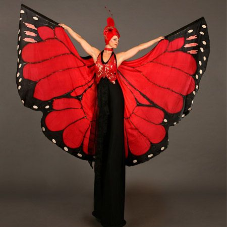 Hire butterfly stilt walkers from Scarlett Entertainment for your fantasy or nature themed event, garden party or corporate function