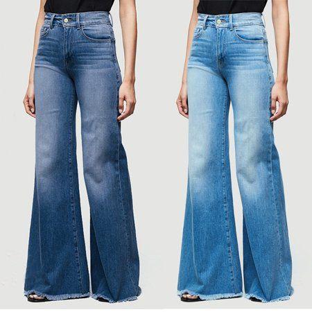 Women Ladies High Waist Flare Bell Bottom Denim Pants Stretch Bootcut Jeans Pant
