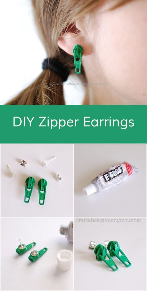 DIY Earrings and Homemade Jewelry Projects - Zipper Earring - Easy Studs Ideas with Beads Dangle Earring Tutorials Wire Feather Simple Boho Handmade Earring Cuff Hoops and Cute Ideas for Teens and Adults Diy Zipper Earrings, Beaded Earrings, Earrings Handmade, Gold Earrings, Custom Earrings, Diy Earrings Easy, Diy Necklace, Diy Zipper Jewelry, Crystal Earrings
