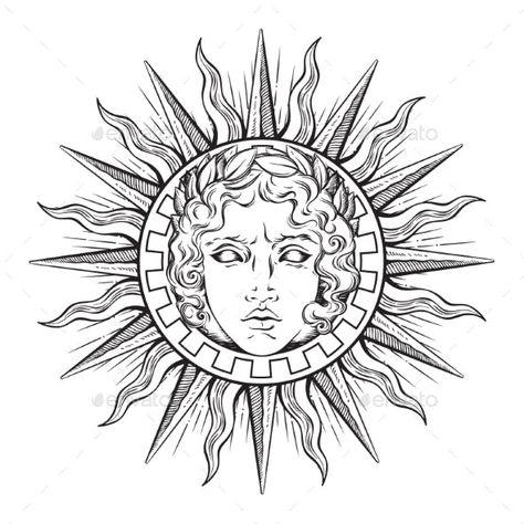 Sun with Face of God Apollo or Helios - Decorative Symbols Decorative