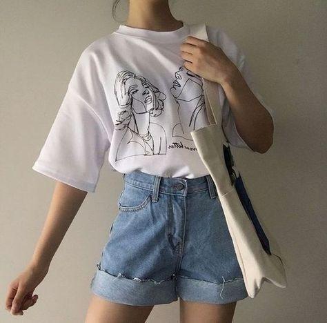 11.0US $ |Fashionshow JF Women Korean Fashion Art Drawing T Shirt Cute Ulzzang Oversized White Tee Street Style Shirt|T-Shirts|   - AliExpress