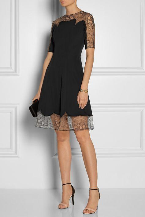 Lela Rose   Lace-trimmed gabardine dress
