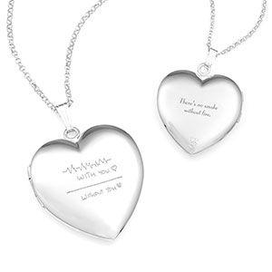silver heart personalized locket