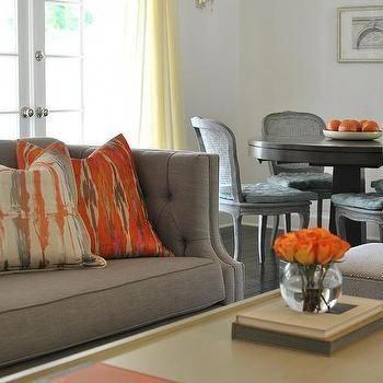 Peachy Gray Sofa With Orange Pillows Contemporary Living Room Spiritservingveterans Wood Chair Design Ideas Spiritservingveteransorg