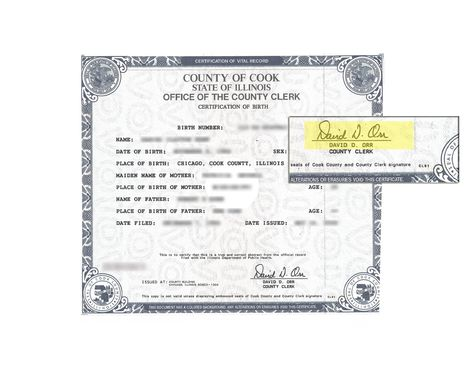 This is a sample of an Illinois Birth Certificate sign acceptable ...