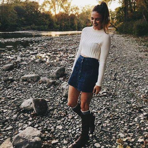 Denim skirt, jumper and knee high boots// love