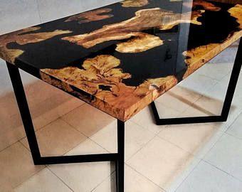 Table A Manger Bois D Olivier Et Resines Resin Table Resin Furniture Wood Table Design