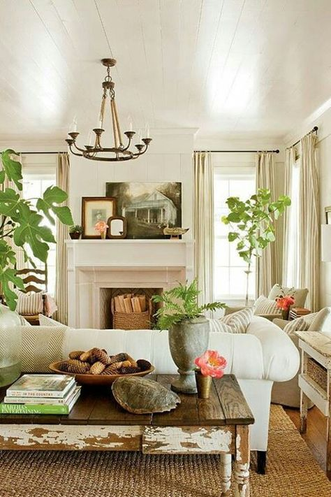 Fireplace in between 2 windows- love this room (minus the plants...)