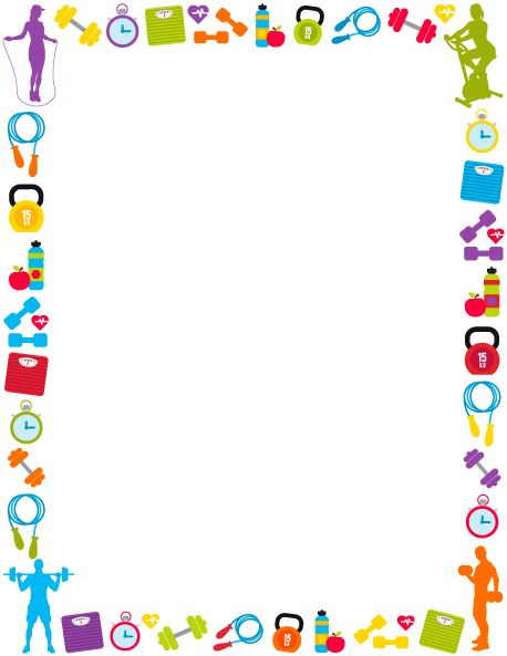 Printable fitness border. Use the border in Microsoft Word or other programs for creating flyers, invitations, and other printables. Free GIF, JPG, PDF, and PNG downloads at  http://pageborders.org/download/fitness-border/