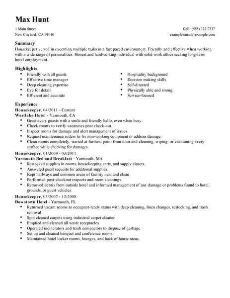 Housekeeping Resume Examples Job Resume Examples Resume Skills