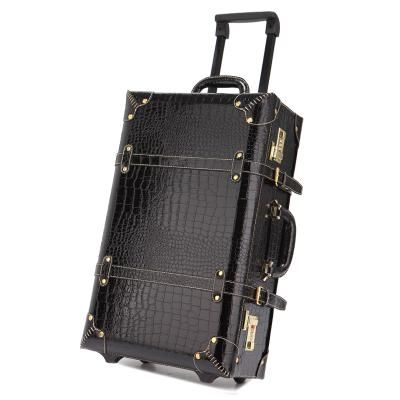 Vintage Pu Leather Travel Luggage 13 22 24 Korea Retro Trolley Luggage Bags On Universal Wheels Bride Wedding Travel Bags For Women Retro Bags Leather Travel