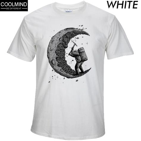 cotton digging the moon print funny men t shirt SF – loveitbabe