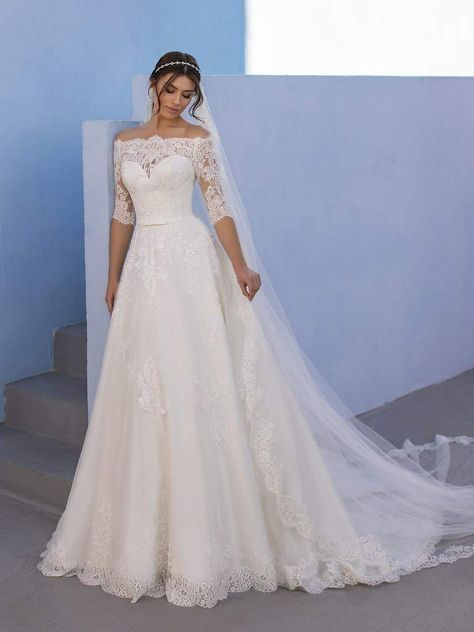Off White Wedding Dresses, Plus Size Wedding Dresses With Sleeves, Off Shoulder Wedding Dress, Wedding Dress Organza, Cute Wedding Dress, Wedding Dress Trends, Wedding Dress Sleeves, Dream Wedding Dresses, Tulle Gown