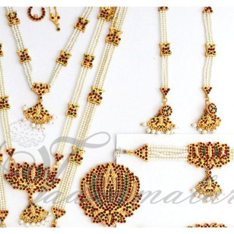 8d5747ca17 10 pcs Beautiful Indian lotus design bridal dance jewelry Bharatanatyam, Kuchipudi  jewellery full set