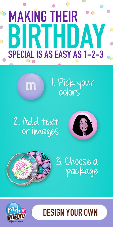 In three easy steps, create perfectly special birthday gifts or favors for the most unique people in your life. It's simple to tailor these one-of-a-kind chocolate treats for friends, family or coworkers. It's always fun to unwrap custom M&M'S Candy.