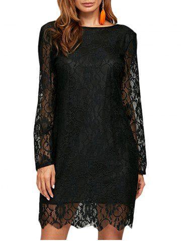 1a8c58637 Cuello redondo elegante Ver a través de las mujeres del vestido de encaje  Negro - NEGRO M