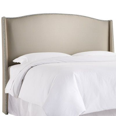 Willa Arlo Interiors Gisela Nail Button Upholstered Wingback Headboard Size: Queen, Upholstery: Shantung Dove