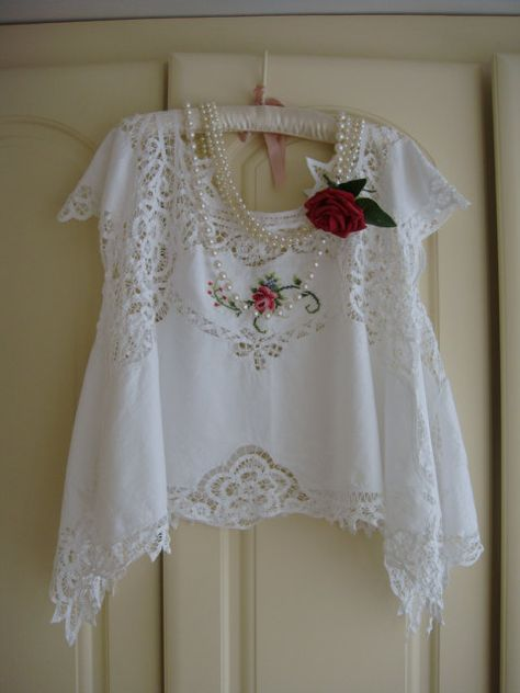 RESERVED Breathtaking Wearable Art Cream Vintage Battenburg Lace ...