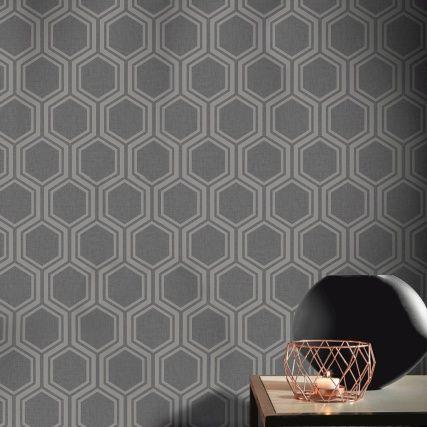 Luxe Hexagon Wallpaper Gunmetal Silver Hexagon Wallpaper Geometric Wallpaper Design Hexagon