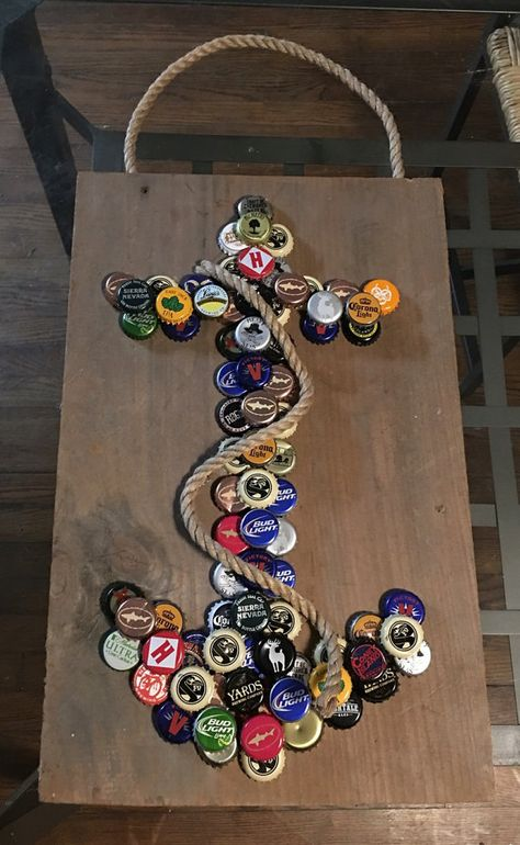 Anchor Bottle Cap Wall Hanging by LucySkyDesigns on Etsy