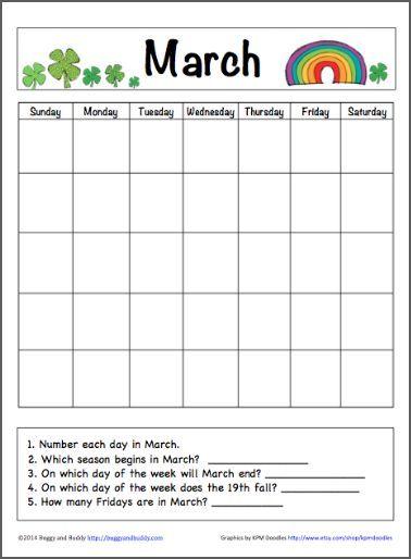March Calendar For Kids Free Printable Kids Calendar Calendar
