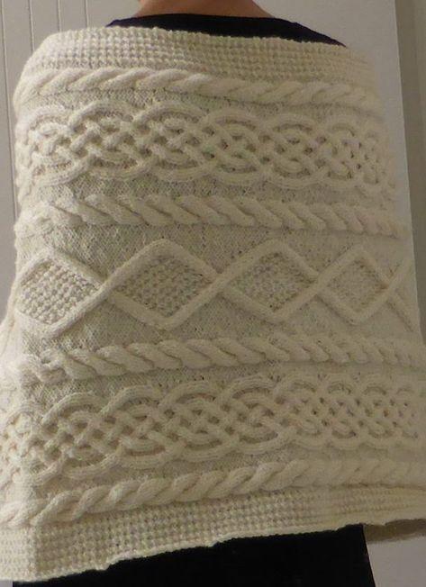 Rectangular Aran wrap in 8ply knitted sideways PDF knitting | Etsy