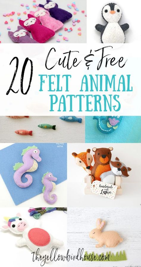 20 really cute free felt animal patterns. Free patterns for nautical animals, woodland animals, magical creatures and more! Felt Patterns Free, Felt Animal Patterns, Felt Ornaments Patterns, Felt Crafts Patterns, Felt Crafts Diy, Stuffed Animal Patterns, Felt Diy, Diy Stuffed Animals, Sewing Patterns Free