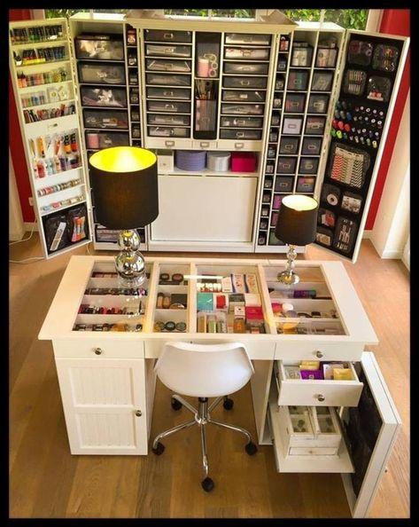 Craft Organization Cupboard - Cheap Craft Room Storage and Organization Furniture Ideas 15