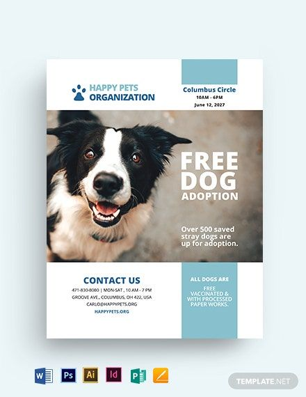 Cute Pet Adoption Bonus Flyer Template Free Jpg Illustrator Indesign Word Apple Pages Psd Publisher Template Net Pets Flyer Template Poster Template Design