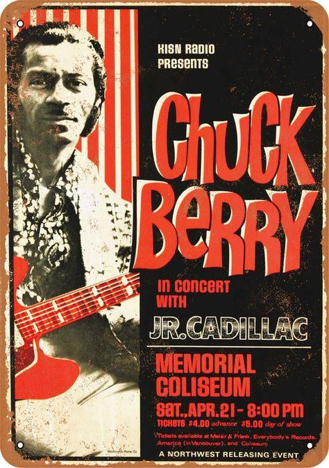 1970s Vintage Concert Poster Paul Revere Chuck Berry
