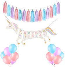 Izoel Einhorn Geburtstagsdeko Happy Birthday Girlande Wimpelkette