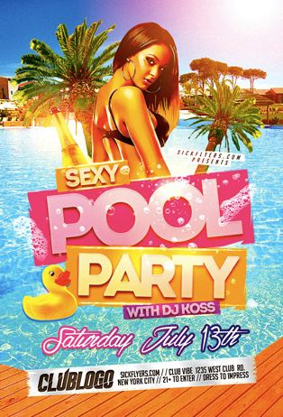 Sexy Pool Party Flyer Template - http\/\/wwwffflyer\/sexy-pool - pool party flyer template
