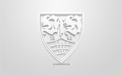download wallpapers vfb stuttgart creative 3d logo white background 3d emblem german football club bundesliga stutgart germany 3d art football stylish german football clubs 3d logo stuttgart download wallpapers vfb stuttgart