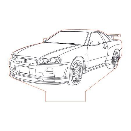 Nissan Gtr R34 3d Illusion Lamp Plan Vector File For Laser And Cnc 3bee Studio Gtr R34 Nissan Gtr R34 Gtr Drawing