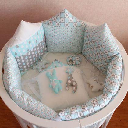 Бортики в круглую кроватку для новорожденных фото